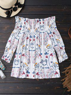 Blumendruck Ruffle Hem Bluse - Weiß Xl