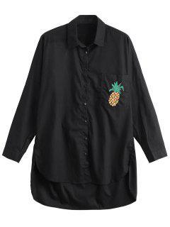 Chemise Brodée à Bas Jacob - Noir S