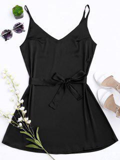 Satin Cami Slip Dress With Choker Strap - Black L