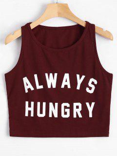 Graphic Always Hungry Cropped Tank Top - Wine Red M