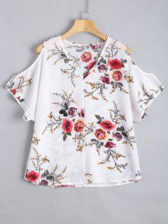 Cold Shoulder Floral Print Blouse - White L