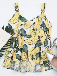 Banana Print V Neck Top - Yellow Xl