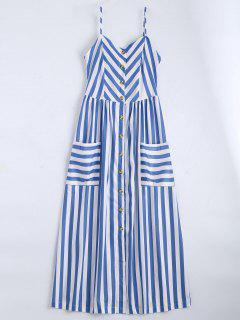 Button Up Striped Cami Dress - Violet Blue M