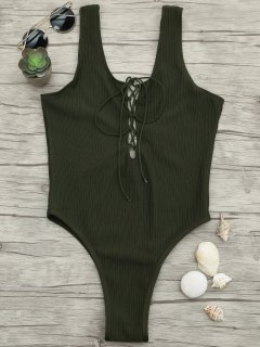 Textured Lacing High Cut One Piece Swimsuit - Army Green M