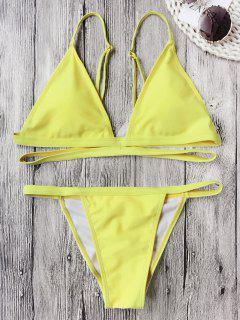 Banded Padded V String Bikini Set - Fluorescent Yellow L