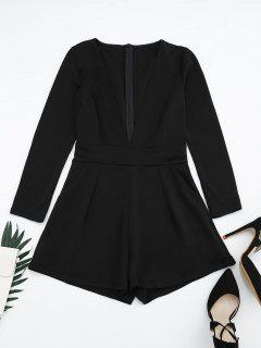 Plunging Neck Long Sleeves Pocket Romper - Black M