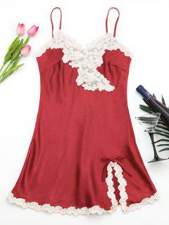 Vestido De Raso De Satén Brillante - Rojo L