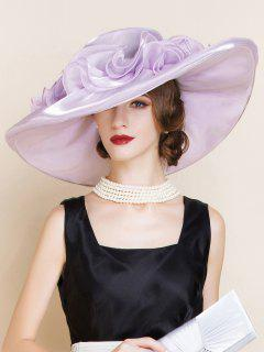 Layered Oversize Organza Flowers Shape Sun Hat - Suede Rose
