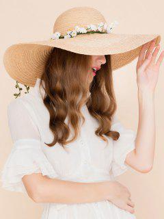 Faux Flowers Embellished Wide Brim Straw Hat - Yellow