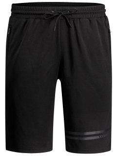 Seamless Zip Pocket Drawstring Shorts - Black 3xl