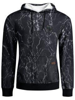 Lightning Print Kangaroo Pocket Hoodie - Black L