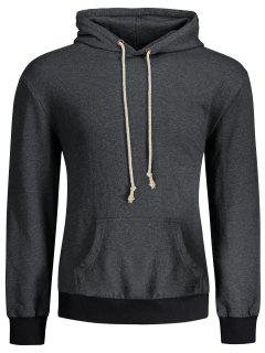 Kangaroo Pocket Patch Pullover Hoodie - Deep Gray L