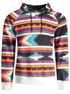 Raglan Sleeve Tribal Print Pullover Hoodie - L