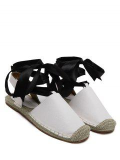 Tie Up Espadrilles Flat Heel Sandals - White 38