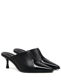 Faux Leather Pointed Toe Slippers - Black 38