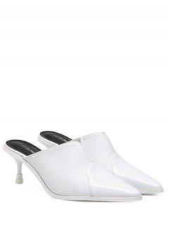 Faux Leather Pointed Toe Slippers - White 38