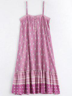 Printed Half Buttoned Ruffles Slip Dress - Multicolor M
