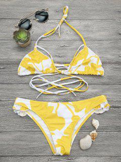 Two Tone Frilled Printed Bikini Set - White And Yellow S