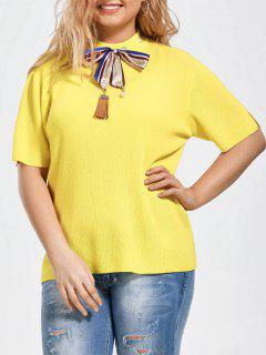 Bowknot Knitted Plus Size Top With Silk Scarf - Yellow 2xl