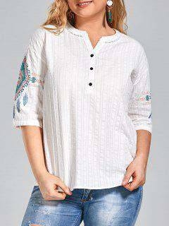 Graphic Plus Size Half Buttoned Top - White 3xl