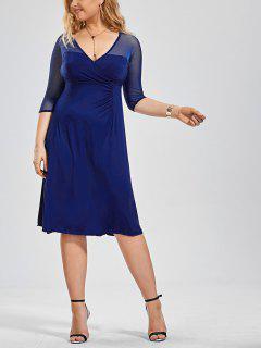 Vestido De Seda Sobre El Pecho - Azul 4xl