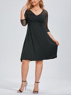 Voile Panel Plus Größe Surplice Kleid - Schwarz 3xl