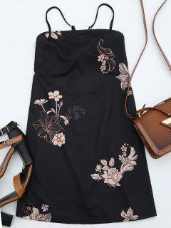 Floral Print Backless Cami Dress - Black M