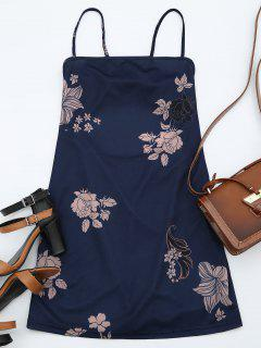 Floral Print Backless Cami Dress - Purplish Blue L