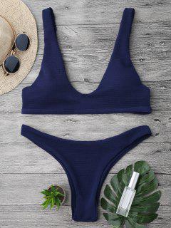 Padded Textured Scoop Bikini Set - Navy Blue S