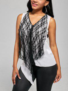 Contrat Draped Lace Tank Top - White And Black 2xl