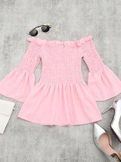 Ruffle Hem Flare Sleeve Blouse - Pink
