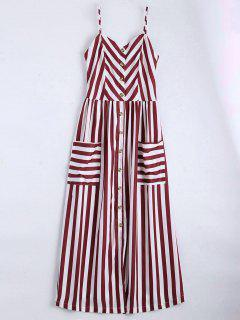 Button Up Striped Cami Dress - Deep Red S