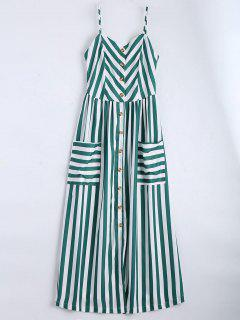 Button Up Striped Cami Dress - Blackish Green M