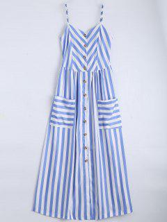 Button Up Striped Cami Dress - Light Blue M