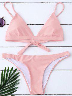 Padded Back Tied Bikini Swimwear - Pink S