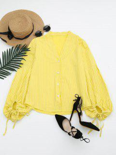 Drawstring Sleeve Button Up Striped Blouse - Yellow M
