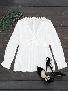Plunging Neck Lace Panel Blouse - White M