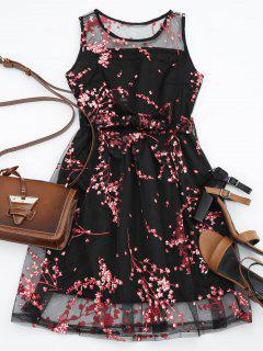 Sleeveless Belted Floral Print Dress - Red M