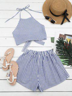 Halter Striped Two Piece Suit - Blue And White M