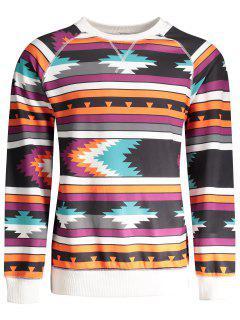 Raglan Sleeve Tribal Print Sweatshirt - L