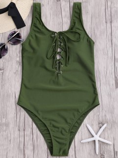 Lace Up Slimming One Piece Swimsuit - Army Green L