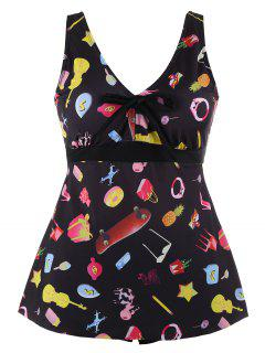 Printed Padded Plus Size Tankini Set - Black Xl