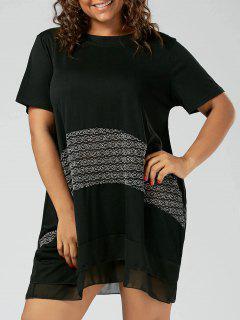 Ruffle Chiffon Trim Plus Size T-shirt Dress - Black 3xl