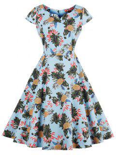 Pineapple Print A Line Plus Size Vintage Dress - Light Blue 2xl