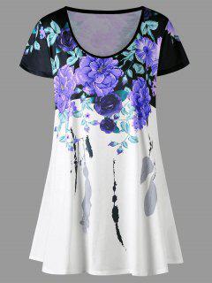 Plus Size Floral Longline T-shirt - Purple 5xl