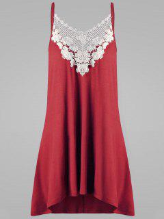 Débardeur à Bretelles à Applique Crochet Floral Grande Taille - Rouge 5xl