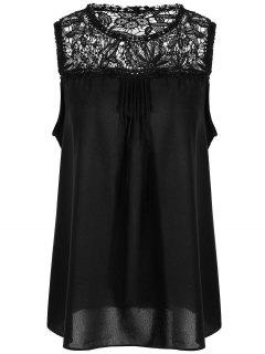 Lace Trim Chiffon Plus Size Sleeveless Top - Black 4xl