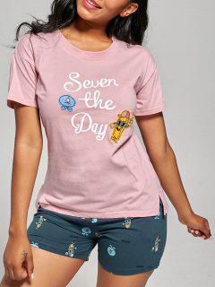 Print Cotton Pajamas Top And Shorts - Light Pink Xl