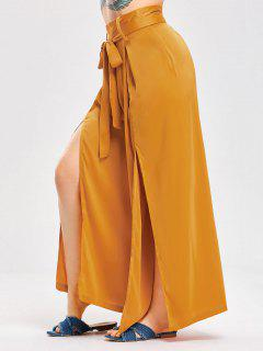 High Slit Satin Bowknot Wide Leg Pants - Ginger L