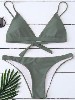 Padded Back Tied Bikini Swimwear - Army Green Xl